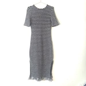 Topshop Tweed Midi Dress Black White Size 6 H5